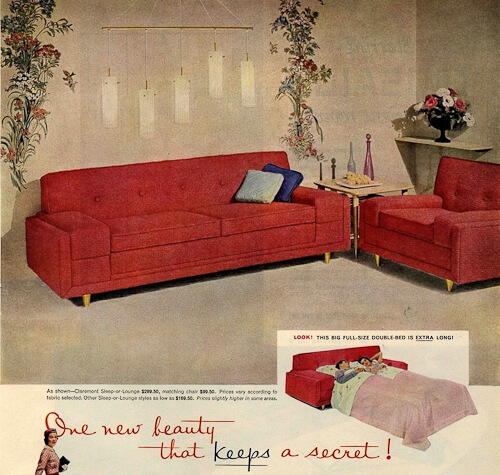 kroehler sofa and chair ad