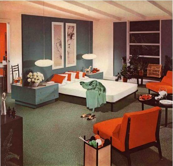 1954 mid century modern bedroom designed by armstrong floors