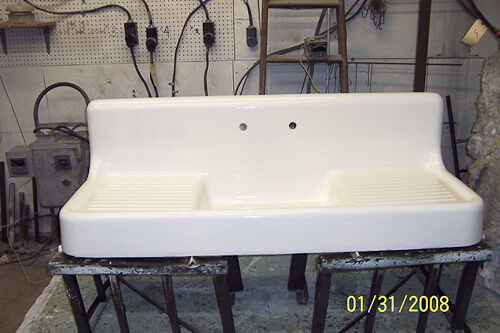 vintage porcelain drainboard kitchen sink