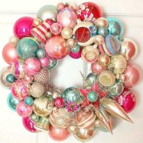 vintage christmas ornament wreath by Georgia Peachez