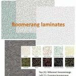 3 styles, 14 colors boomerang laminates available today