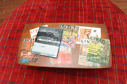 vintage coffee table with magazine decopauged on top