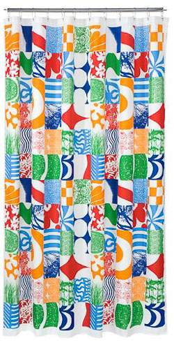 2 New Marimekko Shower Curtains Mid Mod Color Explosion