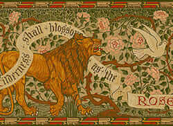 walter crane's lion and dove illustration turned into a poster