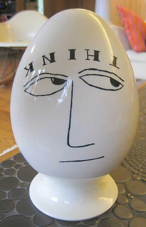 """LaGardo Tackett 1958 egg shaped condom canister """"Think"""""""