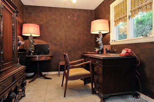 cork panelled den