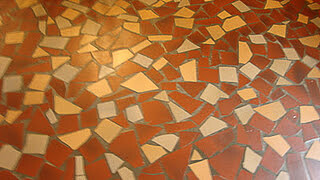 floor made of broken tiles