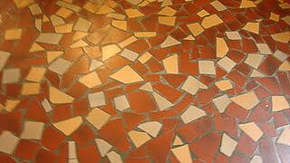 floor made of broken tiles