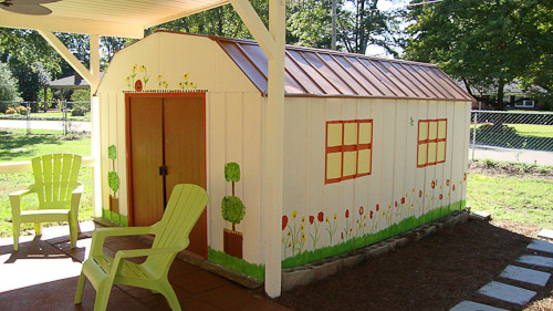 cheerful painted garden shed