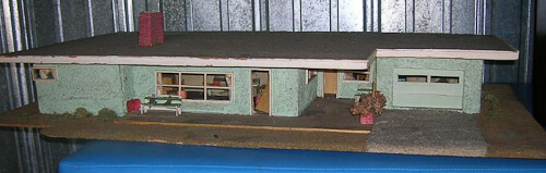 midcentury modern flat roof dollhouse from the outside
