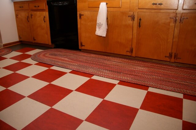 Mna S Black And White Ceramic Tile Checkerboard Floor Red
