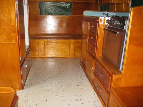 interior of vintage shasta trailer
