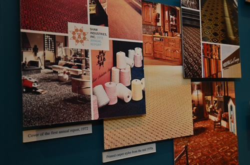 Photos of 1970s Carpets shown on Shaw History Wall