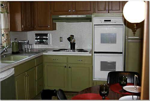 Simple Melita uses steel laboratory cabinets to create her retro dream kitchen avocado kitchen