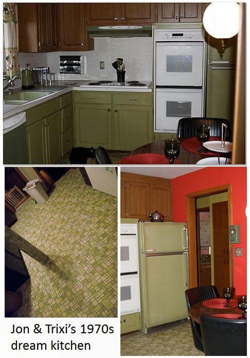 Jon trixi create a 1970s avocado kitchen with rust oleum for Retro kitchen ideas 1970
