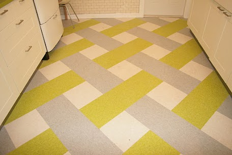 apple green and gray vct floor tile