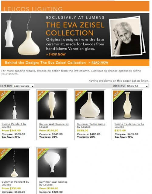 eva zeisel lighting by lumens
