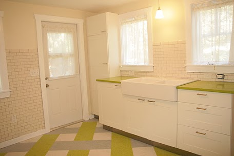 kitchen with subway tiles