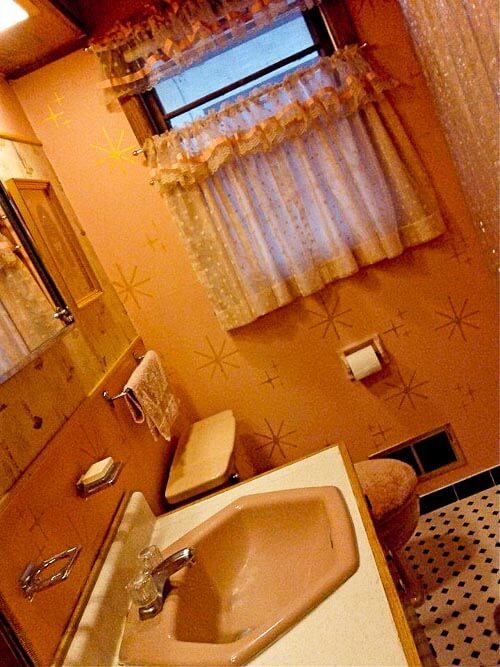 pink stencil bathroom