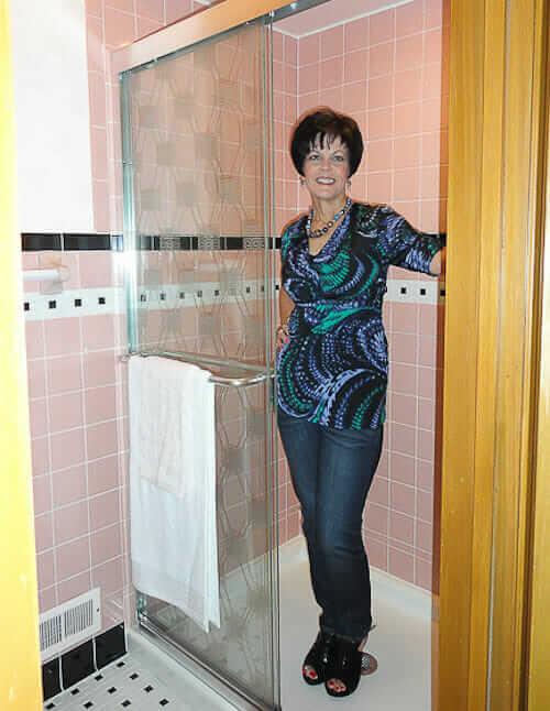 janice designs and installs a mamie pink bathroom