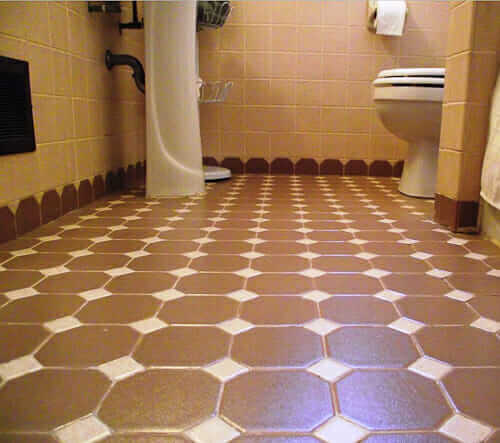 Attractive Octagon And Dot Tile Creates Scalloped Edges   A Terrific Bathroom Design  Idea   Retro Renovation Part 24