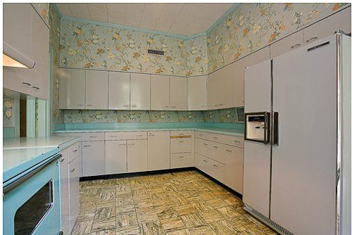 gray and turquoise vintage kitchen