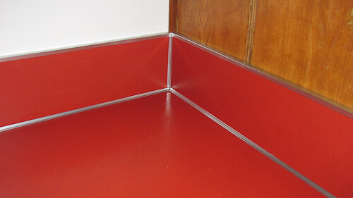 red kitchen countertop