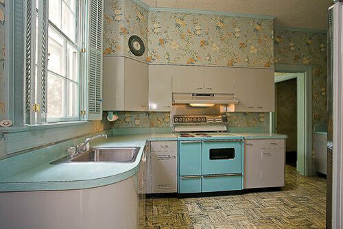 Gorgeous gray and turquoise 1956 dream kitchen and four for Kitchen cabinets 50 style