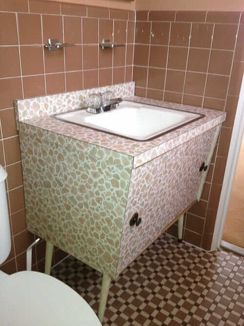 bathroom vanity with wild laminate pattern