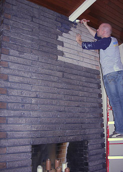 staining a brick fireplace