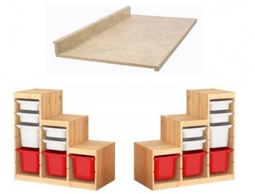 My Ikea hack: Work bench made from Ikea Trofast storage units ...