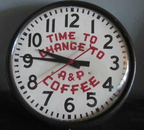 A & P coffee commercial clock
