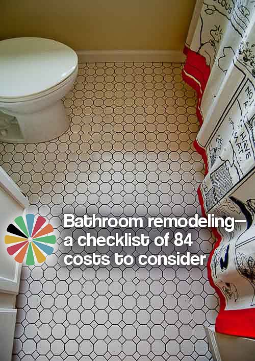 Bathroom Remodeling Checklist bathroom remodeling - a checklist of 84 costs to consider - retro