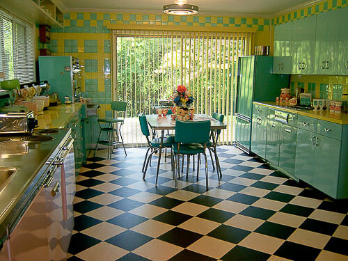 Lori 39 s pink blue and yellow retro kitchen a whole lot of lovin 39 fun retro renovation - Retro flooring kitchen ...