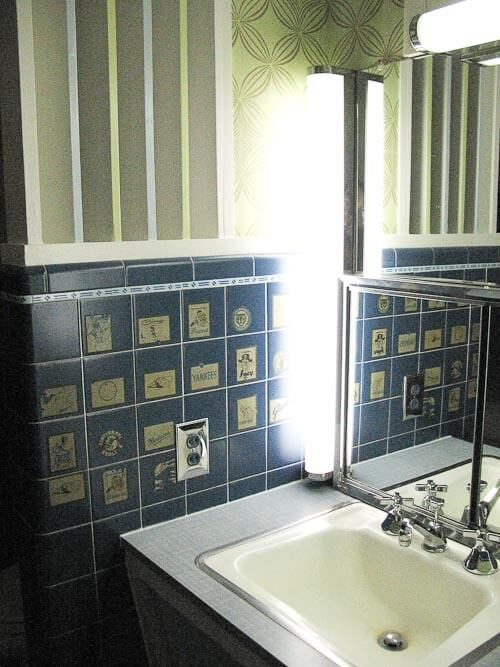 washington senators stickers on 1950s bathroom tile