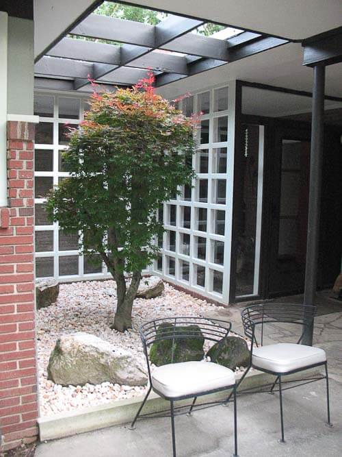 courtyard in midcentury modern house