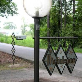 midcentury house sign and custom mailbox