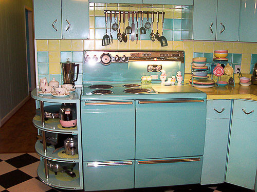 Lori 39 s pink blue and yellow retro kitchen a whole lot of for Kitchen ideas turquoise