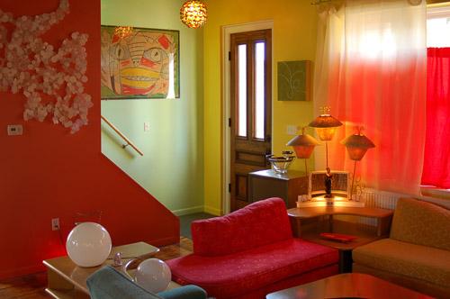 Colorful Retro entry and living room
