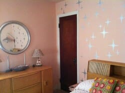 romantic retro bedroom with starburst stencils