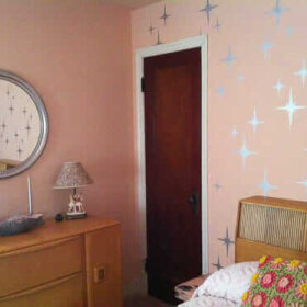 romantic retro bedroom with starburst stencils