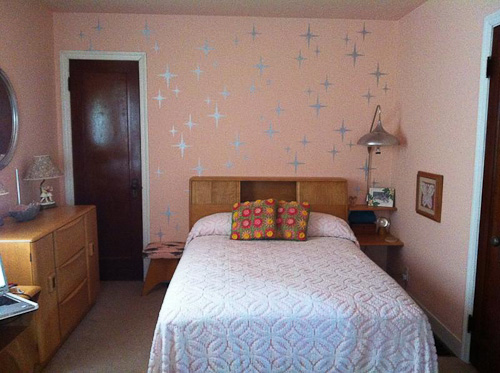 romantic bedroom with starburst stencil metallic paint