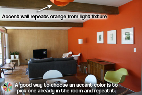 Retro Orange Accent Wall
