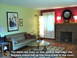 Retro fireplace accent wall