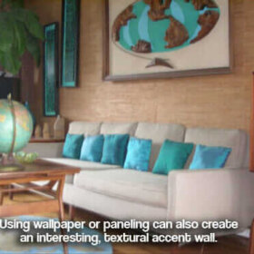 retro polynesian room with witco world and textured wall