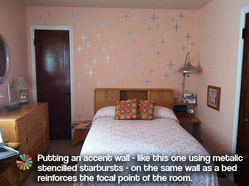 metalic silver retro starburst stenciled accent wall - Paint Colors For Bedroom
