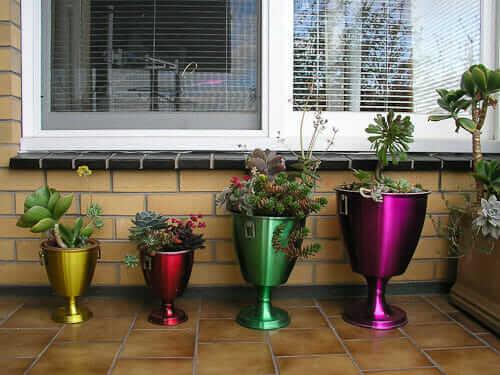 vintage anodized aluminum planters