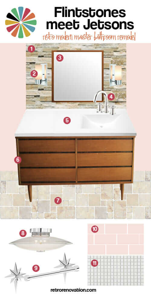 Flintstones meet Jetsons retro modern master bath remodel