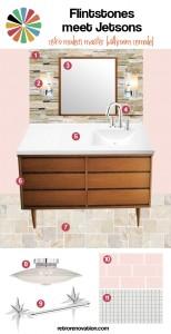 Flintstones meet Jetsons retro modern master bath remodel mood board