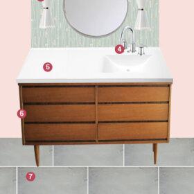 Kate's retro modern bath remodel idea board 2